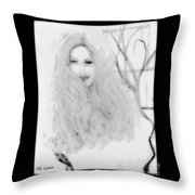Pencil Sketch Of Blonde Hair Girl Throw Pillow