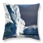 Penguin And Ice Throw Pillow