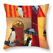 Penguin Cafe Throw Pillow