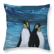 Penguin Family Expectant Again Throw Pillow