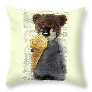 Penguin Ice Cream Throw Pillow
