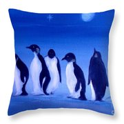 Penguins On A Night Out.sold Throw Pillow