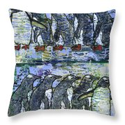 Penguins On Parade Throw Pillow