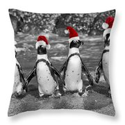 Penguins With Santa Claus Caps Throw Pillow
