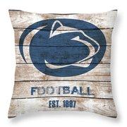 Penn State // Football // Distressed Wood Throw Pillow
