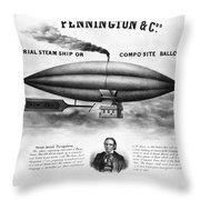 Penningtons Airship, 1850 Throw Pillow