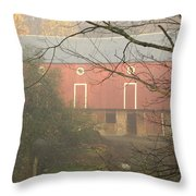 Pennsylvania German Barn In The Mist Throw Pillow
