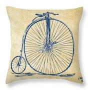 Penny-farthing 1867 High Wheeler Bicycle Vintage Throw Pillow