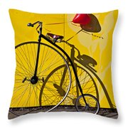 Penny Farthing Love Throw Pillow