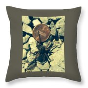 Penny Pinching Spider Throw Pillow
