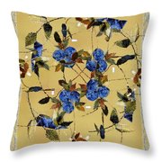 Penny Postcard Silk-stitched Throw Pillow