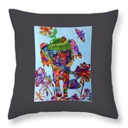 Penny Steps Out Throw Pillow