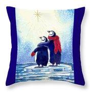 Penquins An Christmas Star Throw Pillow