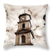 Penryn Clock Tower In Sepia Throw Pillow