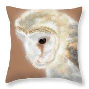 Pensive Barn Owl Throw Pillow