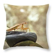 Pensive Mantis Throw Pillow