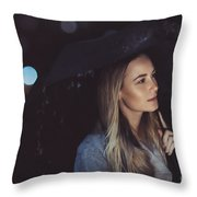 Pensive Woman Outdoors In Rainy Night Throw Pillow