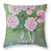 Peonies With A Cup Of Coffee, Some Cherries And A Lovenote Throw Pillow