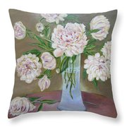 Peonies Bouquet In An Elegant Bowl On A Round Table Throw Pillow
