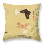 Peonies And Butterflies Throw Pillow