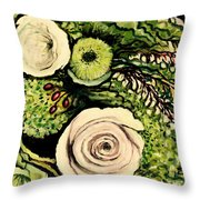 Peonies And Hypercom Throw Pillow
