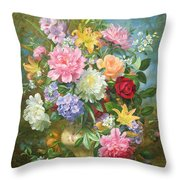 Peonies And Mixed Flowers Throw Pillow