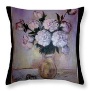 Peonies And Rings Throw Pillow