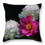 Peonies - Beautiful Flowers - On The Right Is One Of The First Places Among The Garden Perennials Throw Pillow
