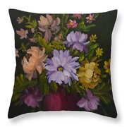 Peonies In A Red Vase Throw Pillow