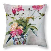 Peonies In Crystal Vase Throw Pillow