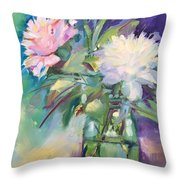 Peonies In Jar Throw Pillow