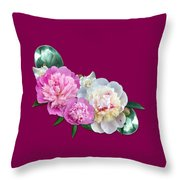 Peonies In Pink And Blue Throw Pillow