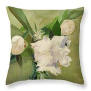 Peonies On Green Throw Pillow