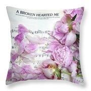 Peonies On Music Sheet - Pink Peonies Shabby Chic Inspirational Print - Peony Home Decor Throw Pillow
