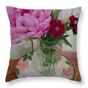 Peonies With Sweet Williams Throw Pillow