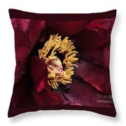 peony 23 Deep Red Tree Peony Macro Throw Pillow