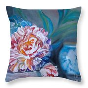 Peony And Chinese Vase Throw Pillow