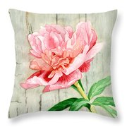 Peony At The Fence Throw Pillow