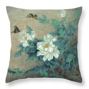 Peony Butterfly Throw Pillow