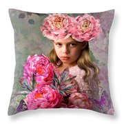 Peony Flower Child Throw Pillow