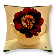Peony In A Tea Kettle Throw Pillow
