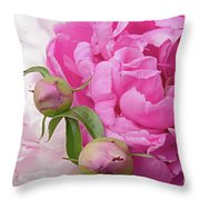 Peony Pair In Pink And White  Throw Pillow