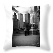 People And Skyscrapers Throw Pillow