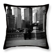 People And Skyscrapers - Square Throw Pillow