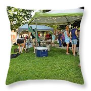 People At Food Event 3 Throw Pillow