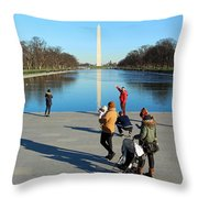 People At The Reflecting Pool Throw Pillow