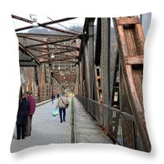People Crossing Old Yugoslav Weathered Metal Bridge Crossing In Bosnia Hercegovina Throw Pillow