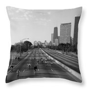 People Cycling On A Road, Bike The Throw Pillow