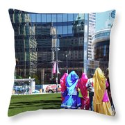 People - East Indian Women In Traditional Dress Throw Pillow