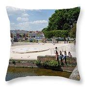 People Enjoying The Stratford Sunshine Throw Pillow